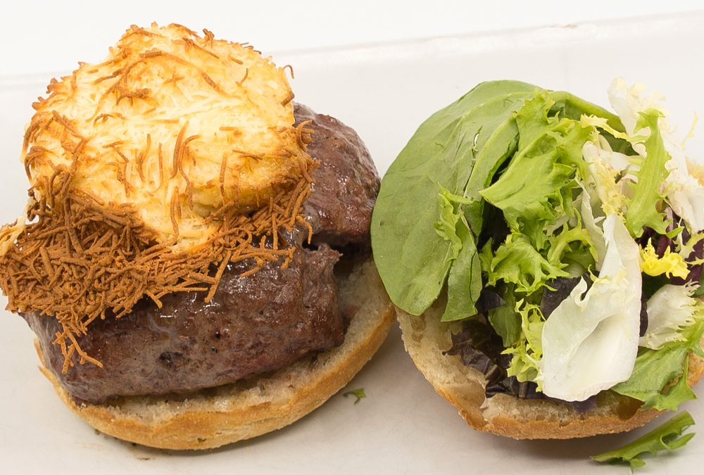 hamburguesa ajo almendras